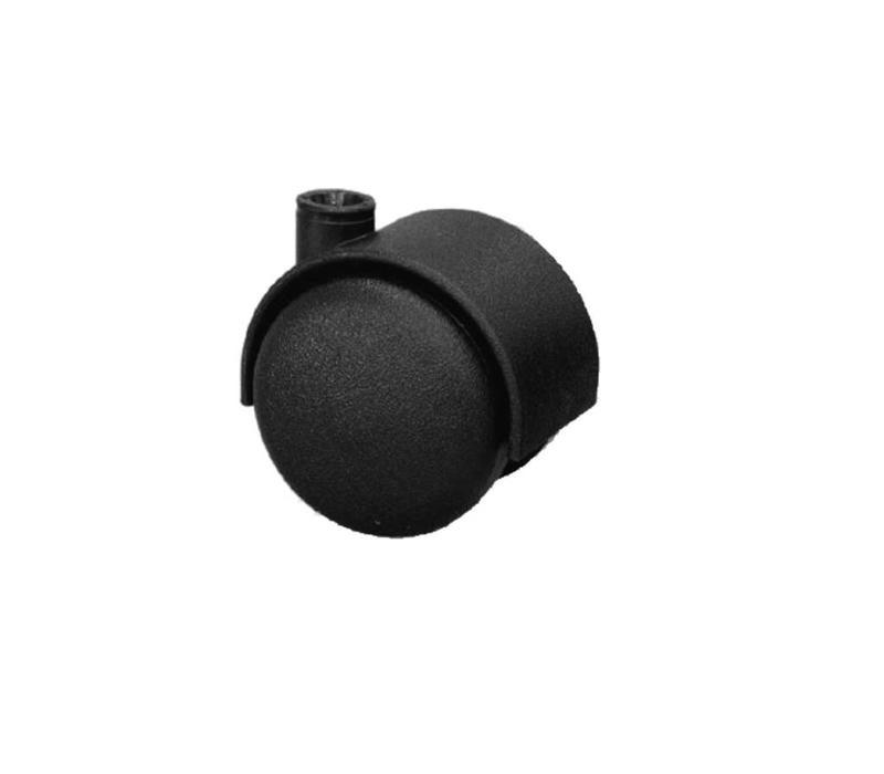 25 x 25 x 2,0mm Meubelwiel zonder rem + SchroefPen - Zwart
