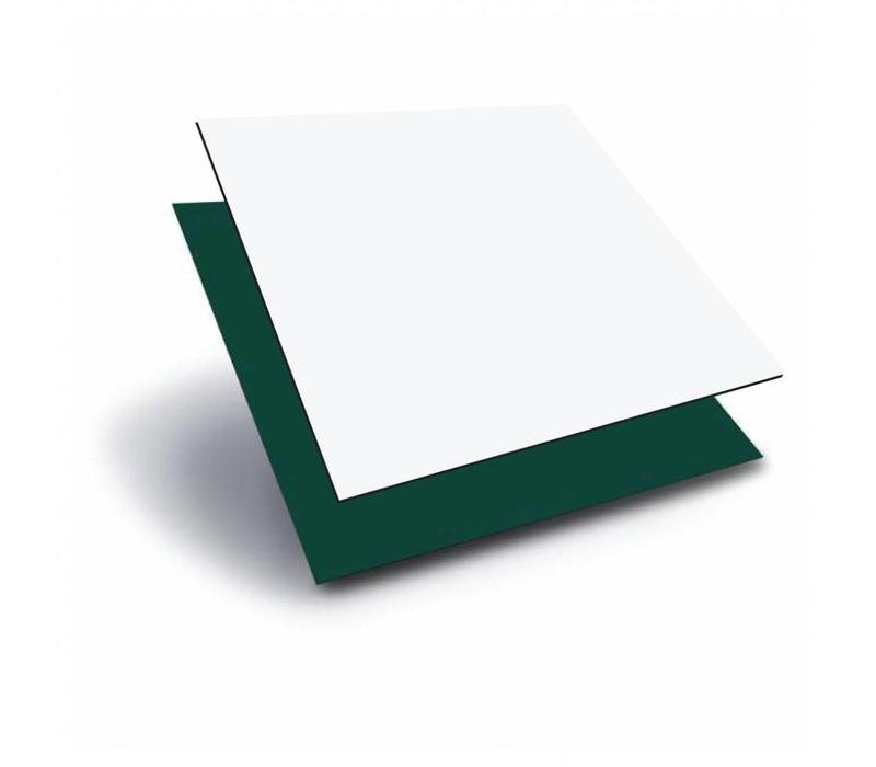 HPL (High Pressure Laminate) Platen 1220 x 2440 x 3,0mm -Wit (RAL 9010) / Groen (RAL 6009)