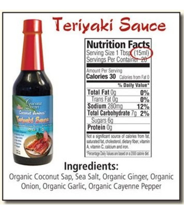 Coconut Secret Coconut Secret - Coconut Aminos, Teriyaki Sauce, 296ml