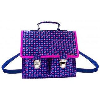 Boeken- schoudertasje blauw roze gebloemd Chopstick BFF