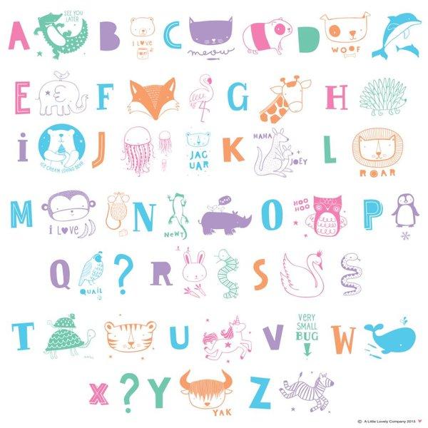 A Little Lovely Company Letterset ABC Pastel voor lightbox | A little lovely company