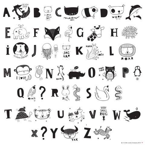 Letterset ABC Zwart voor lightbox | A little lovely company