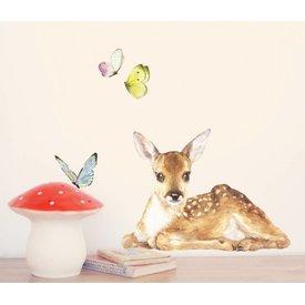 Chocovenyl Muursticker bambi met vlinders - Chocovenyl
