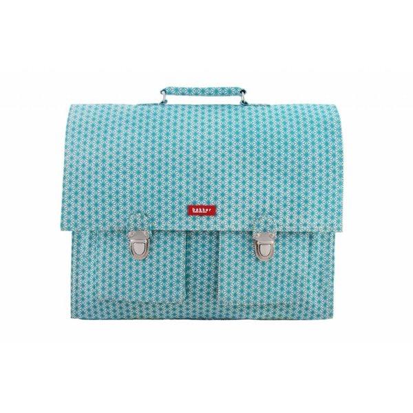Bakker made with Love 2 vaks-boekentas / Schooltas XL X Turquoise | Bakker made with love