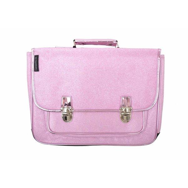 Caramel & Cie. Boekentas / Schooltas glitter roze GROOT | Caramel & Cie