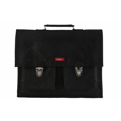 2 vaks-boekentas / schooltas XL Glitter Zwart | Bakker made with love
