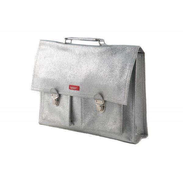 Bakker made with Love 2 vaks-boekentas / schooltas XL Glitter Silver | Bakker made with love