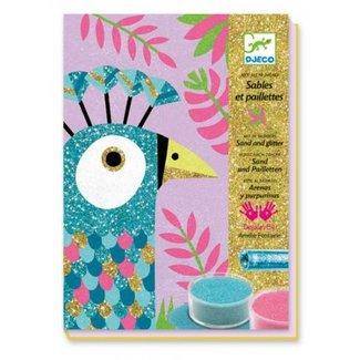 Djeco Gekleurd glitterzand knutseldoos - paradijsvogels | Djeco