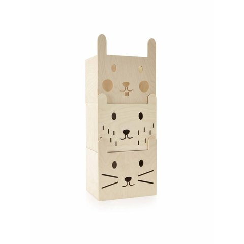 Stapelbare opbergdozen hout | Miniwoo