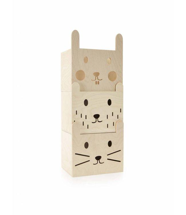 Miniwoo Stapelbare opbergdozen hout | Miniwoo
