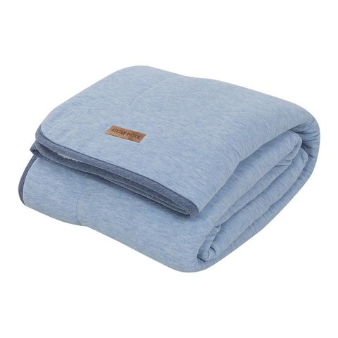 Dekentje ledikant Pure & Soft - Blue Melange (110 x 140) | Little Dutch