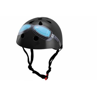 Kiddimoto Skate- & fietshelm Zwart met bril   Kiddimoto