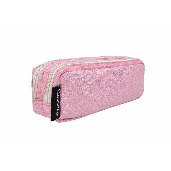 Caramel & Cie. Pennenzak glitter roze | Caramel & Cie