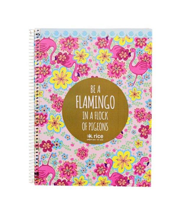 Rice Notitieboek met harde kaft Flamingo | Rice