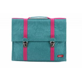 Bakker made with Love Boekentas / Schooltas Groot Cordura Happy Turquoise | Bakker made with love
