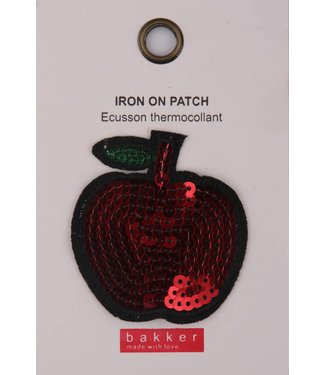Bakker made with Love Iron On Patch Apple voor op Boekentas / Schooltas Cordura Happy | Bakker made with love