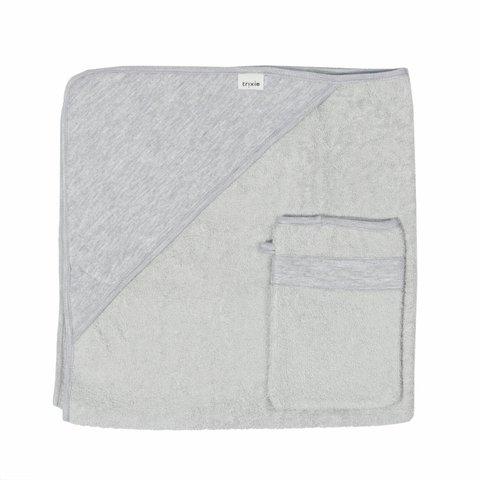 Badcape en washandje - Granit Grey   Trixie Baby