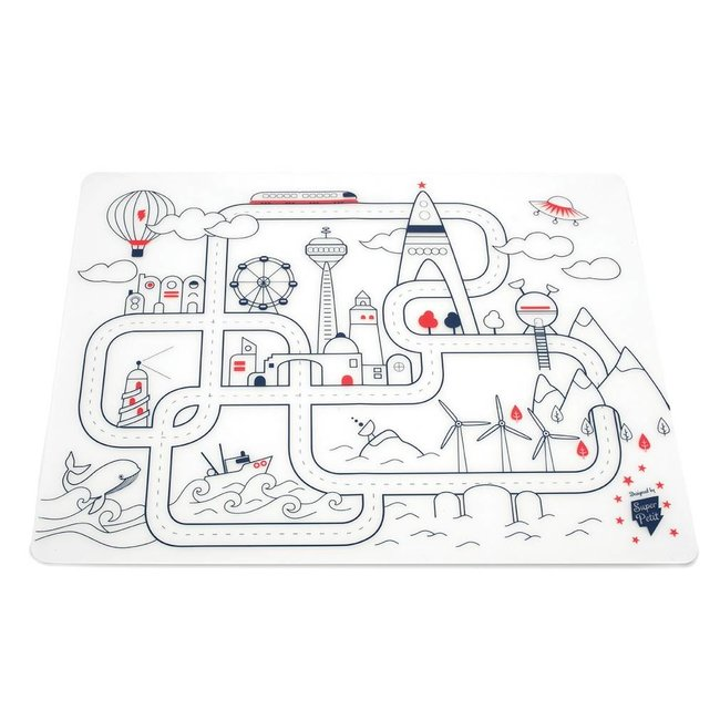 Super Petit Placemat met stiften - City   Super Petit