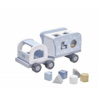 Kid's Concept Speelgoed Vrachtwagen met Vormpjes Blauw | Kid's Concept