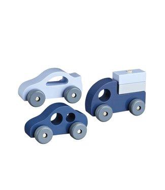 Kid's Concept Houten Auto's Set van 3 - Blauw | Kid's concept