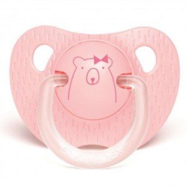 Suavinex Anatomische Fopspeen Meaningfull in Silicone (0-6m) - Pink Bear | Suavinex