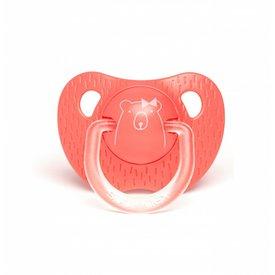 Suavinex Anatomische Fopspeen Meaningfull in Silicone (6-18m) - Dark Pink Bear | Suavinex