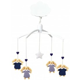 Trousselier Muziekmobiel - Soft Bunny Navy Blue & Navy Stripes | Trousselier