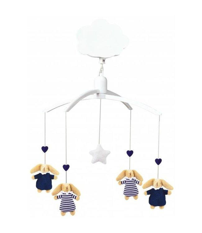 Trousselier Muziekmobiel - Soft Bunny Navy Blue & Navy Stripes   Trousselier