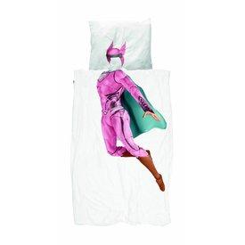 Snurk Eenpersoons Dekbedovertrek Superhero - Roze  | Snurk