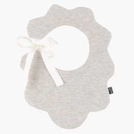 "House of Jamie Scallop Baby Bib ""Stone + Powder Pink""  
