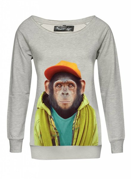 Sweatshirt Scoop Neck Ladies - Chimpanzee - Zoo Portraits
