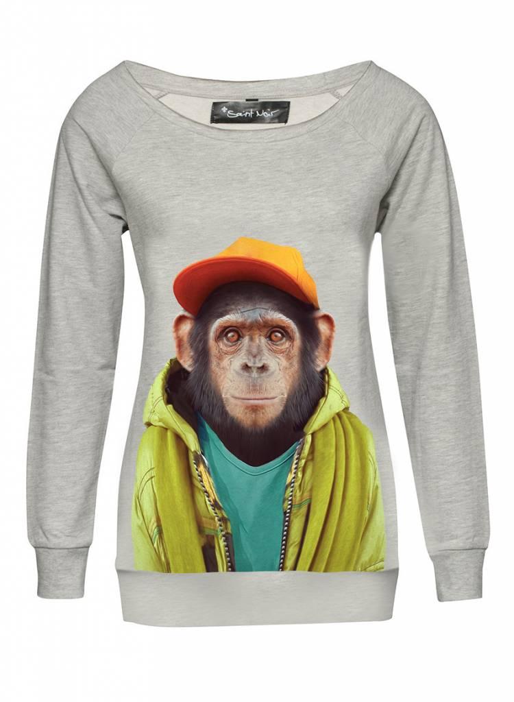 Sweatshirt Scoop Neck Ladies - Chimpanzee - Zoo Portraits