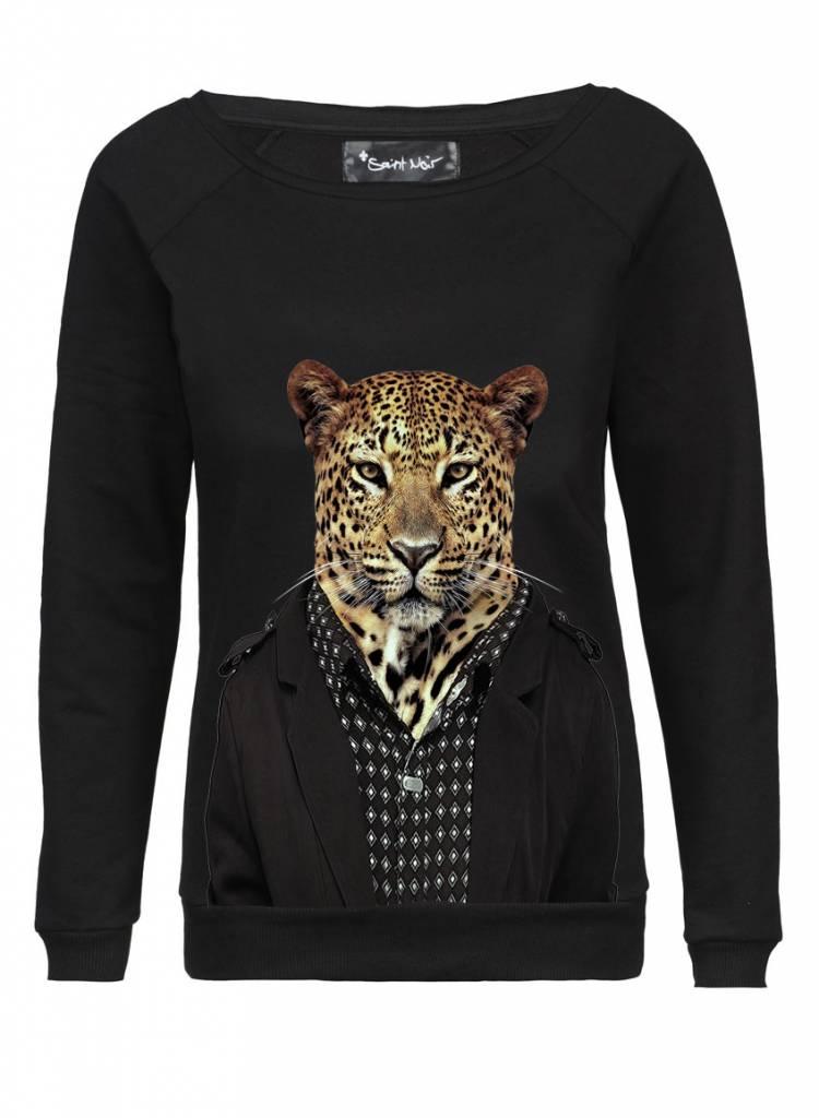 Sweatshirt Scoop Neck Ladies - Leopard - Zoo Portraits