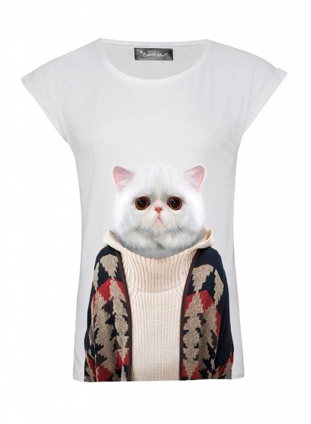 T-Shirt Rolled Sleeve Ladies - Short Hair Cat - Zoo Portraits