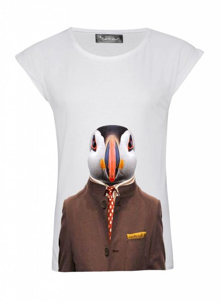 T-Shirt Rolled Sleeve Ladies - Atlantic Puffin - Zoo Portraits