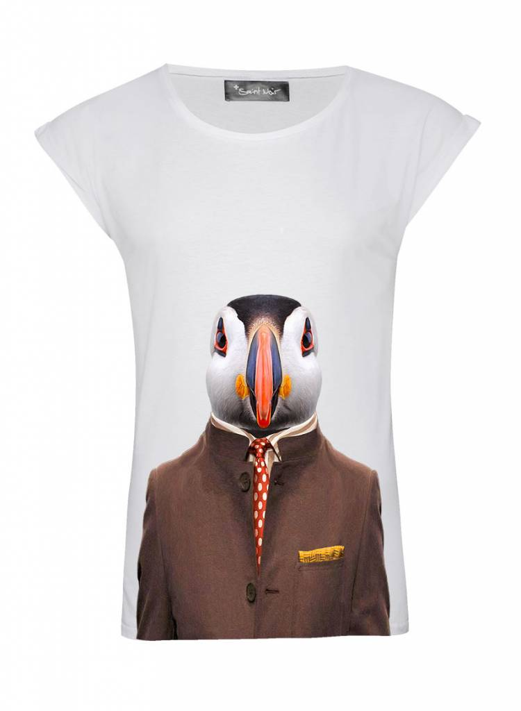 T-Shirt Rolled Sleeve Damen - Atlantic Puffin - Zoo Portraits