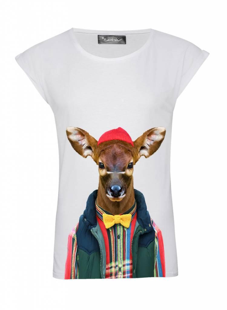 T-Shirt Rolled Sleeve Ladies - Bongo Calf - Zoo Portraits