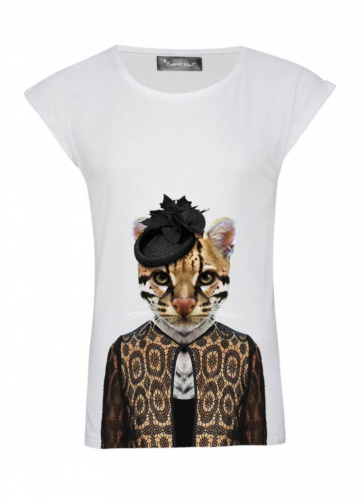 T-Shirt Rolled Sleeve Ladies - Ocelot - Zoo Portraits