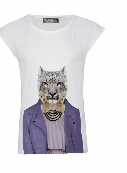 T-Shirt Rolled Sleeve Women - Snow Leopard - Zoo Portraits