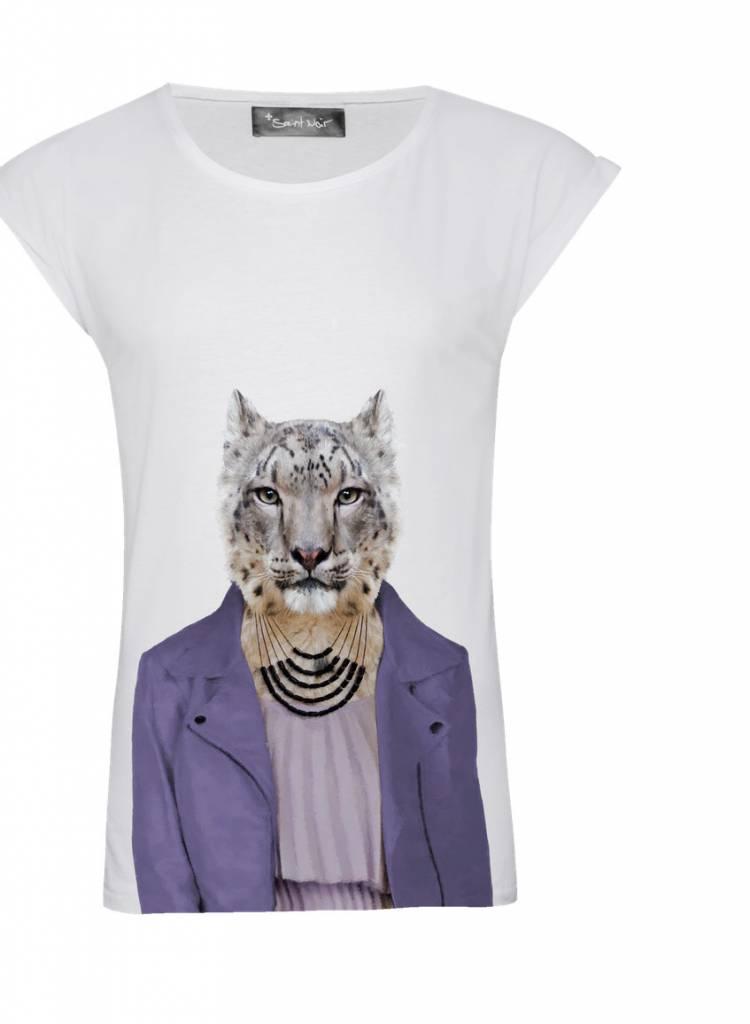 T-Shirt Rolled Sleeve Damen - Snow Leopard - Zoo Portraits