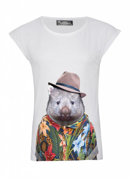 T-Shirt Rolled Sleeve Ladies - Wombat - Zoo Portraits