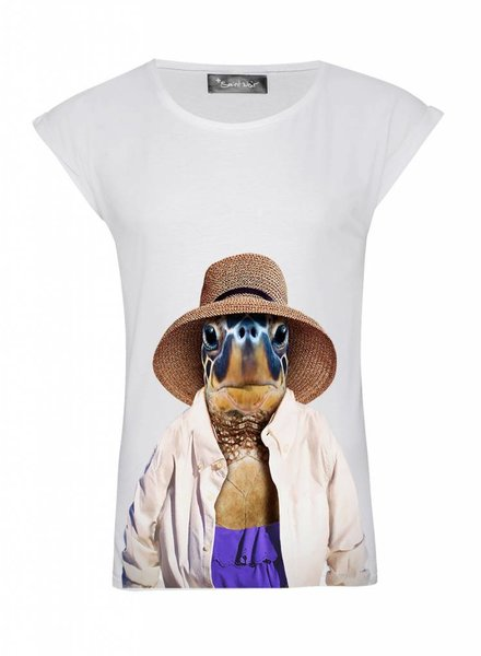 T-Shirt Rolled Sleeve Ladies - Turtle - Zoo Portraits