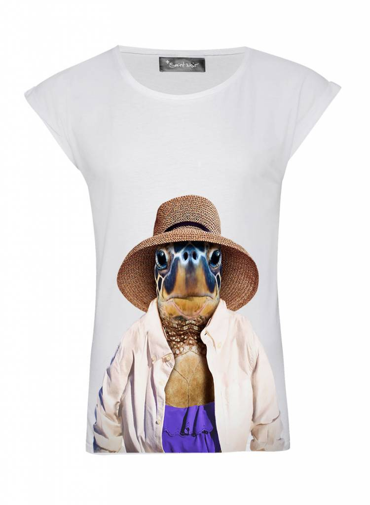 T-Shirt Rolled Sleeve Ladies - Turtle - Zoo Portraits