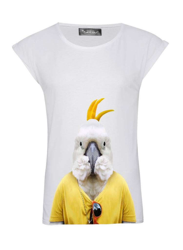 T-Shirt Rolled Sleeve Ladies - Cockatoo - Zoo Portraits