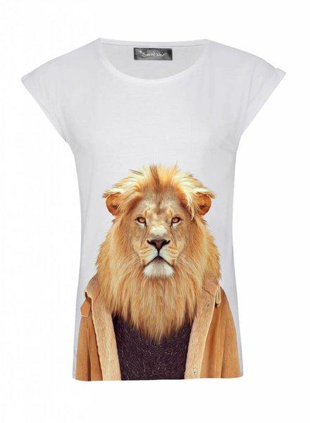 T-Shirt Rolled Sleeve Damen - Lion - Zoo Portraits