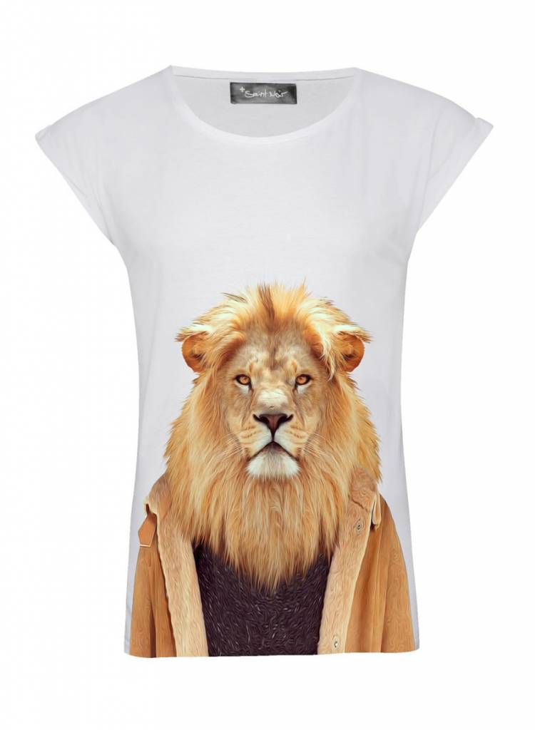 T-Shirt Rolled Sleeve Ladies - Lion - Zoo Portraits