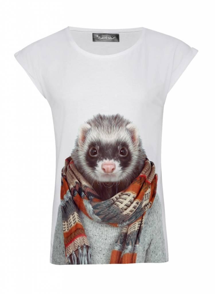 T-Shirt Rolled Sleeve Ladies - Ferret - Zoo Portraits