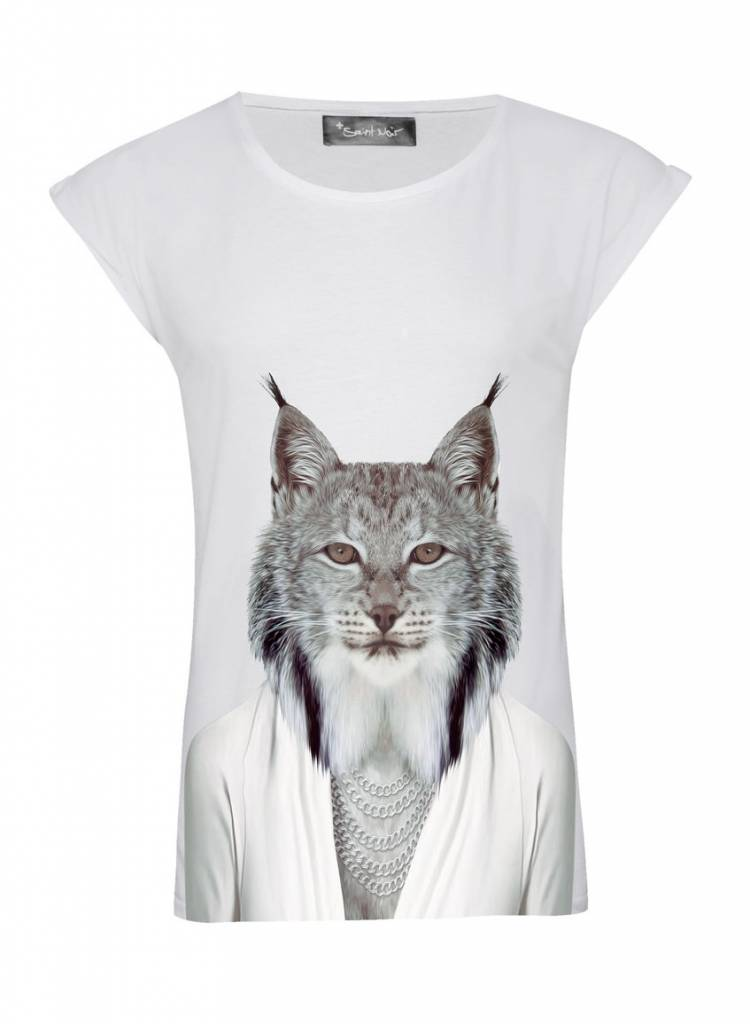 T-Shirt Rolled Sleeve Ladies - Lynx - Zoo Portraits