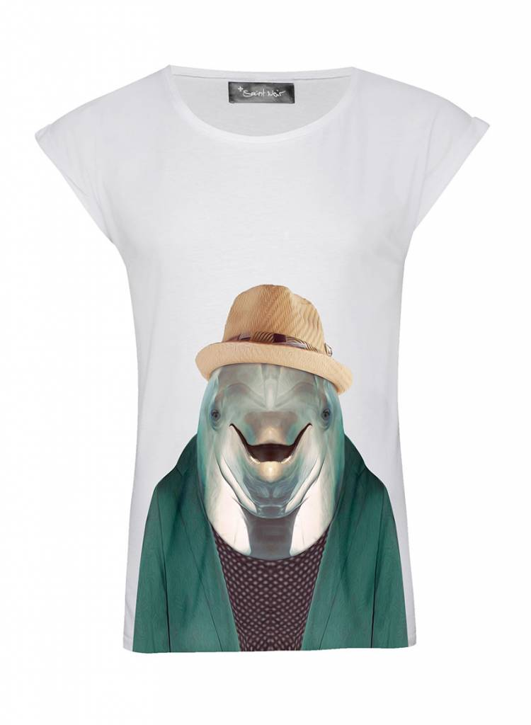 T-Shirt Rolled Sleeve Ladies - Dolphin - Zoo Portraits