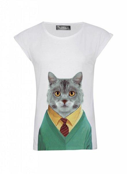 T-Shirt Rolled Sleeve Damen - Cat - Zoo Portraits